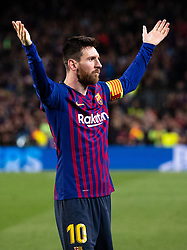 May 1, 2019 - Barcelona, Spain - FC Barcelona's LIONEL MESSI celebrates after scoring during the UEFA Champions League semifinal first leg soccer match between FC Barcelona and Liverpool. Messi scored his 600th career goal during Barcelona's 3-0 win against Liverpool in the Champions League. Barcelona won 3-0. (Credit Image: © Joan Gosa/Xinhua via ZUMA Wire)