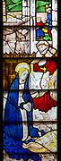 Sixteenth century stained glass windows inside church of Saint Mary, Fairford, Gloucestershire, England, UK - window 3 detail Nativity