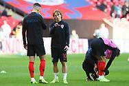 Croatia's Luka Modric talking to Croatia's Ivan Perisic during the UEFA Nations League match between England and Croatia at Wembley Stadium, London, England on 18 November 2018.