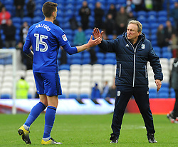 Cardiff City manager Neil Warnock praises Greg Halford of Cardiff City at the final whistle - Mandatory by-line: Nizaam Jones/JMP - 10/03/2018 -  FOOTBALL -  Cardiff City Stadium- Cardiff, Wales -  Cardiff City v Birmingham City - Sky Bet Championship