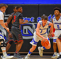 Nolensville Knights Reese Gilbert (3) during the Nolensville Knights vs East Nashville Sub-State basketball playoff game at Nolensville High Monday, March 4, 2019.  The Knights ended the season with a 71-56 loss.<br /> Photo Harrison McClary/News & Observer