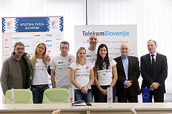 Nasif Khalid, Snezana Rodic, Vid Trsan, Marina Tomic, Matija Sestak, Marija Sestak, Martin Steiner and Boris Mikuz at press conference of Slovenian team before departure to Indoor Athletics World Championship in Istanbul, on March 7, 2012 in Ljubljana, Slovenia.  (Photo By Vid Ponikvar / Sportida.com)