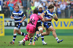 Nick Auterac of Bath goes on the attack - Photo mandatory by-line: Patrick Khachfe/JMP - Mobile: 07966 386802 13/09/2014 - SPORT - RUGBY UNION - Bath - The Recreation Ground - Bath Rugby v London Welsh - Aviva Premiership