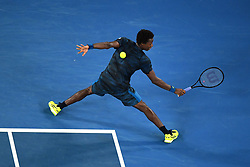 January 23, 2017 - Melbourne, Australia - France's GAEL MONFILS hits a shot during his Men's singles fourth round match against Spain's Rafael Nadal during the Australian Open, played at Melbourne Park. (Credit Image: © Panoramic via ZUMA Press)