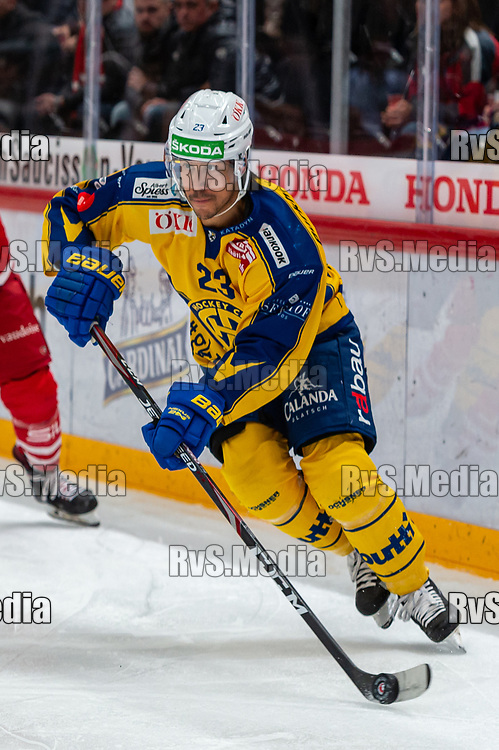 LAUSANNE, SWITZERLAND - NOVEMBER 05: #23 Samuel Guerra of HC Davos in action during the Swiss National League game between Lausanne HC and HC Davos at Vaudoise Arena on November 5, 2019 in Lausanne, Switzerland. (Photo by Monika Majer/RvS.Media)
