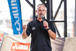 Paul Kaye welcomes riders to the briefing during the pre race events held at the V&A Waterfront in Cape Town prior to the start of the 2017 Absa Cape Epic Mountain Bike stage race held in the Western Cape, South Africa between the 19th March and the 26th March 2017<br /> <br /> Photo by Dominic Barnardt/Cape Epic/SPORTZPICS<br /> <br /> PLEASE ENSURE THE APPROPRIATE CREDIT IS GIVEN TO THE PHOTOGRAPHER AND SPORTZPICS ALONG WITH THE ABSA CAPE EPIC<br /> <br /> ace2016