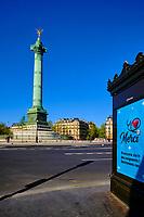 France, Paris (75), Place de la Bastille durant le confinement du Covid 19 // France, Paris, Bastille square during the lockdown of Covid 19