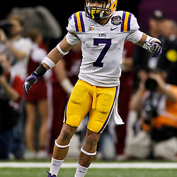 Jan 9, 2012; New Orleans, LA, USA; LSU Tigers cornerback Tyrann Mathieu (7) against the Alabama Crimson Tide during the second half of the 2012 BCS National Championship game at the Mercedes-Benz Superdome.  Mandatory Credit: Derick E. Hingle-US PRESSWIRE