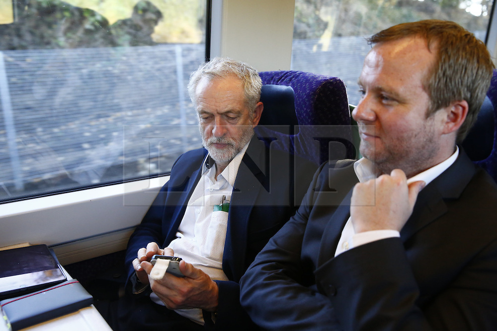 © Licensed to London News Pictures. 01/10/2015. Edinburgh, UK. Leader of Labour Party JEREMY CORBYN travelling between Edinburgh and Glasgow on a ScotRail train on Thursday, 1 October 2015 whilst making his first visit to Scotland as leader of the UK Labour Party. Photo credit: Tolga Akmen/LNP