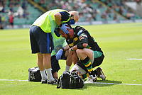 Rugby Union - 2020 / 2021 Gallagher Premiership - Round 21 - Northampton Saints vs Exeter Chief - Franklin Gardens.<br /> <br /> Northampton Saints' Tom Wood receiving medical attention during the game.<br /> <br /> COLORSPORT/ASHLEY WESTERN