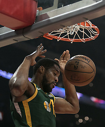 January 16, 2019 - Los Angeles, California, United States of America - Royce O'Neale #23 of the Utah Jazz dunks the ball during their NBA game with the Los Angeles Clippers on Wednesday January 16, 2019 at the Staples Center in Los Angeles, California. Clippers lose to Jazz, 129-109. JAVIER ROJAS/PI (Credit Image: © Prensa Internacional via ZUMA Wire)