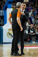 FC Barcelona Lassa's coach Georgios Bartzokas talking with referee Luigi Lamonica duringTurkish Airlines Euroleague match between Real Madrid and FC Barcelona Lassa at Wizink Center in Madrid, Spain. March 22, 2017. (ALTERPHOTOS/BorjaB.Hojas)