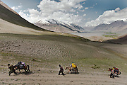 It takes about five days by jeep from Kabul to reach the end of the road in the Wakhan corridor visible below in the distance on this picture. Another five or six days, crossing over three high passes takes you to the edge of the Afghan Pamir plateau and the first Kyrgyz camp. A further four-day trek takes you to the China border and the last Kyrgyz camp...Trekking up and along the Wakhan river, the only way to reach the high altitude Little Pamir plateau, home of the Afghan Kyrgyz community.