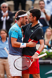 June 5, 2018 - Paris, U.S. - PARIS, FRANCE - JUNE 05: ALEXANDER ZVEREV (GER), left, embraces NOVAK DJOKOVIC (SBR) after Zverev upset Djokovic during day ten match of the 2018 French Open 2018 on June 5, 2018, at Stade Roland-Garros in Paris, France. (Photo by Chaz Niell/Icon Sportswire) (Credit Image: © Chaz Niell/Icon SMI via ZUMA Press)