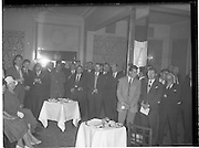 """30/05/1960<br /> 05/30/1960<br /> 30 May 1960<br /> W.D. & H.O. Wills and Gael Linn press conference on new collaboration at the Hibernian Hotel Dublin. Image shows a general view of the press conference. Film concerned most likely """"Peil""""."""