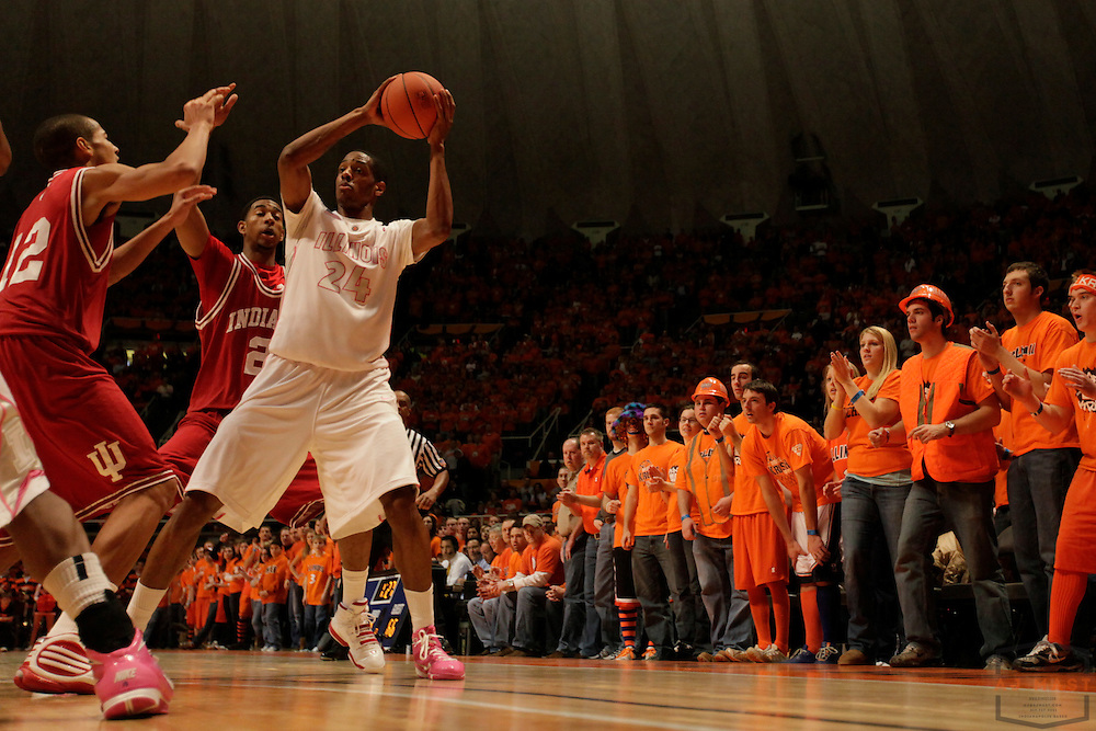 30 January 2010: Illinois forward Mike Davis (24) as the Indiana Hoosiers played the Illinois Illini in a college basketball game in Champaign, Ill..