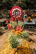 Wreaths and marigolds decorate tombs during the Day of the Dead festival November 1, 2017 in Santa Ana Chapitiro, Michoacan, Mexico.  The festival has been celebrated since the Aztec empire celebrates ancestors and deceased loved ones.