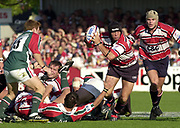 Gloucester, Gloucestershire, UK., 11th October 2003,  Kingsholm Stadium, Zurich Premiership Rugby, [Mandatory Credit: Peter Spurrier/Intersport Images],<br /> <br /> 11/10/2003 - Photo  Peter Spurrier<br /> 2003/04 Zurich Premiership Rugby: Gloucester v Leicester <br /> Henry Paul, collects the loose, ball on the fringes of the scrum.