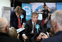 (left) Richard Tice and Brexit Party leader Nigel Farage greets supporters following a rally at Featherstone Working Man's Club, while on the European Election in Pontefract, West Yorkshire. Picture dated: Monday May 13, 2019. Photo credit should read: Isabel Infantes / EMPICS Entertainment.