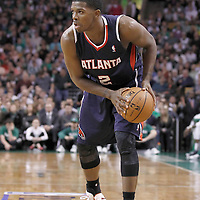 10 May 2012: Atlanta Hawks shooting guard Joe Johnson (2) looks to pass the ball during the Boston Celtics 83-80 victory over the Atlanta Hawks, in Game 6 of the Eastern Conference first-round playoff series, at the TD Banknorth Garden, Boston, Massachusetts, USA.