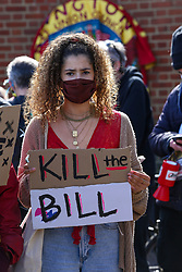 © Licensed to London News Pictures. 02/04/2021. London, UK. A protester holds a placard at a 'Kill the Bill' demonstration in Finsbury Park, north London. The proposed Police, Crime, Sentencing and Courts Bill would give police in England and Wales more power to impose conditions on non-violent protests. Photo credit: Dinendra Haria/LNP