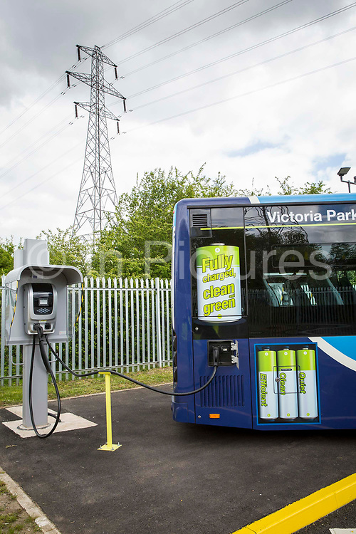 An Ecolink zero emissions bus charging at the bus depot in Nottingham, Nottinghamshire, United Kingdom.