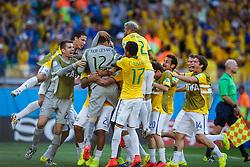 Goleiro Júlio Cesar comemora vitória na partida entre Brasil x Chile, válida pelas oitavas de final da Copa do Mundo 2014, no Estádio Mineirão, em Belo Horizonte. FOTO: Jefferson Bernardes/ Agência Preview