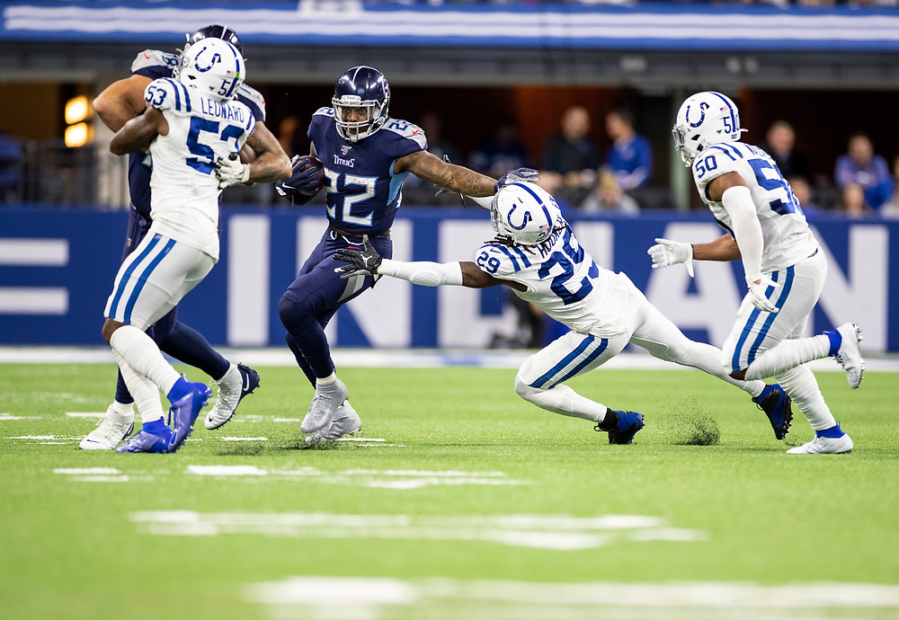 December 01, 2019:  Tennessee Titans running back Derrick Henry (22) runs with the ball for yardage during NFL football game action between the Tennessee Titans and the Indianapolis Colts at Lucas Oil Stadium in Indianapolis, Indiana.  Tennessee defeated Indianapolis 31-17.  John Mersits/CSM.