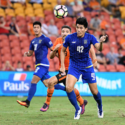 BRISBANE, AUSTRALIA - JANUARY 31: Marco Casambre of Global FC heads the ball during the second qualifying round of the Asian Champions League match between the Brisbane Roar and Global FC at Suncorp Stadium on January 31, 2017 in Brisbane, Australia. (Photo by Patrick Kearney/Brisbane Roar)