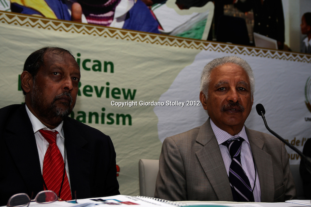DURBAN - 13 April 2012 - Newai Gebreab, the Chairman of the Africa Peer Review Mechanism's (APRM) Focal Points Committee (right) addresses journalists as South Africa's Public Service and Administration Minister Roy Padayachie looks on. The two were attening a two day conference of the Focal Points Committee..*Postscript: Padayachie died in Addis Ababa while attending an APRM meeting on 5 May 2012..Picture: Giordano Stolley/Allied Picture Press/APP