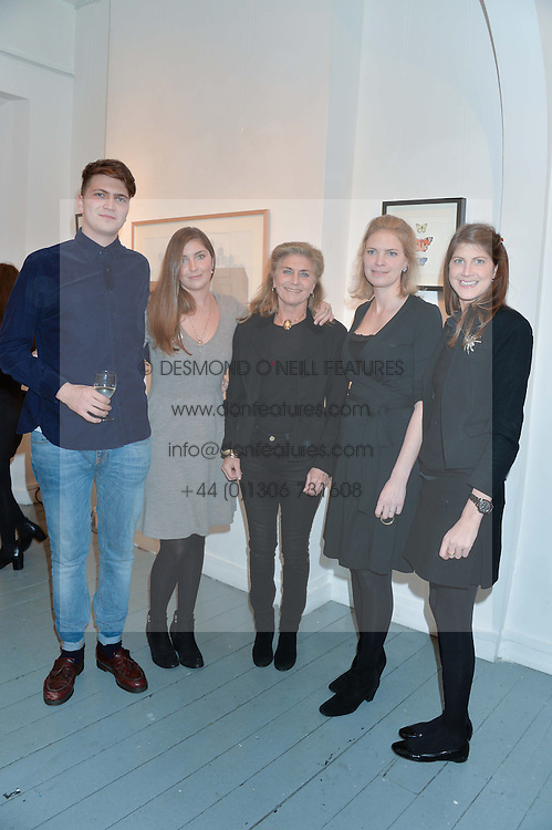 Left to right, PRINCE FRITZI VON PREUSSEN, PRINCESS AUGUSTA VON PREUSSEN, PRINCESS VICTORIA VON PREUSSEN, PRINCESS BEATRICE VON PREUSSEN and PRINCESS FLORENCE VON PREUSSEN at an exhibition of works by Beatrice von Preussen held at The Gallery on The Corner, 155 Battersea Park Road, London SW8 on 11th December 2013.