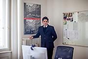 Franz Kafka lookalike Marek Lentvorsky (21) in an office space of the Goethe Institut.