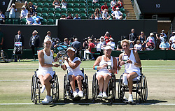 Diede De Groot (left) and Yui Kamiji (centre left) with the winners trophy and Lucy Shuker (centre left) and Sabine Ellerbrock (right) with the runners up trophy after the Ladies' Wheelchair Doubles Final on day thirteen of the Wimbledon Championships at the All England Lawn Tennis and Croquet Club, Wimbledon. PRESS ASSOCIATION Photo. Picture date: Sunday July 15, 2018. See PA story TENNIS Wimbledon. Photo credit should read: Steven Paston/PA Wire. RESTRICTIONS: Editorial use only. No commercial use without prior written consent of the AELTC. Still image use only - no moving images to emulate broadcast. No superimposing or removal of sponsor/ad logos. Call +44 (0)1158 447447 for further information.
