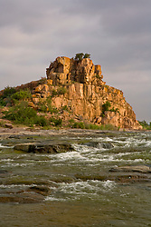 Stock photo of Eagle Rock at the Llano River in the Texas Hill Country