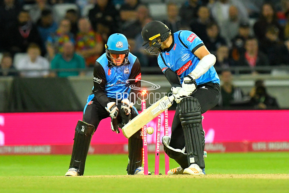 Wicket - David Wiese of Sussex ib bowled by Moeen Ali of Worcestershire during the final of the Vitality T20 Finals Day 2018 match between Worcestershire Rapids and Sussex Sharks at Edgbaston, Birmingham, United Kingdom on 15 September 2018.