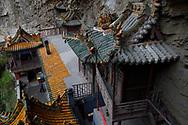 View of the he Xuan Kong Si, or Hanging Temple, 1800 years old, Beiyue Hengshan Mountain, Datong, Hunyuan County, Shanxi Province, China