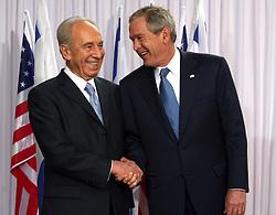 Israeli President Shimon Peres greets U.S. President George W. Bush at the President's House in Jerusalem, Israel on May 14, 2008. Photo by Guy Assayag/MCT/ABACAPRESS.COM