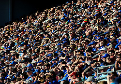 Cardiff City fans shield their eyes from the sun- Mandatory by-line: Nizaam Jones/JMP - 21/04/2019 -  FOOTBALL - Cardiff City Stadium - Cardiff, Wales -  Cardiff City v Liverpool - Premier League