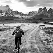 Riding a short un-named singletrack outside just outside of Torres del Paine National Park.