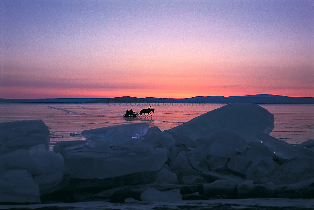 Horse sleds on frozen lake<br /> Lake Hovsgol<br /> Northern Mongolia