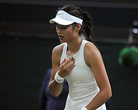 Lawn Tennis - 2021 All England Championships - Week Two - Monday - Wimbledon<br /> Emma Raducanu v Ajia Tomijanovic<br /> <br /> Emma Raducanu of GBR clearly in pain, had to receive   medical treatment in the 2nd set, which resulted in her having to retire from the match<br /> <br /> Credit : COLORSPORT/Andrew Cowie