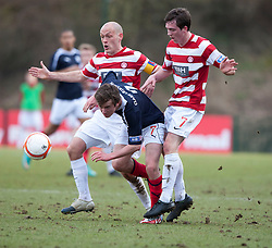 Hamilton's Alex Neil, Falkirk's Thomas Grant  and Hamilton's Louis Routledge..half time : Hamilton v Falkirk, Scottish Cup quarter-final, Saturday, 2nd March 2013..©Michael Schofield.