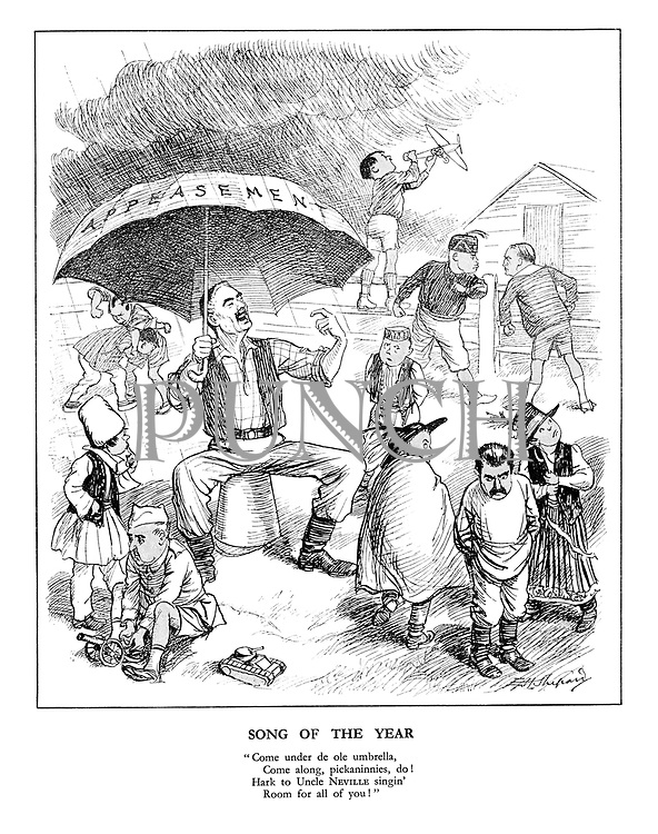 """Song of the Year. """"Come under de ole umbrella, come along, pickannies, do! Hark to Uncle Neville singin' room for all of you."""""""