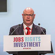 Steve Gillan, General Secretary of the POA speaking at the TUC congress 2016, Brighton. UK.