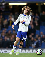 Chelsea's David Luiz with his knee strapped up during the Premier League match at the Stamford Bridge Stadium, London. Picture date: April 5th, 2017. Pic credit should read: David Klein/Sportimage