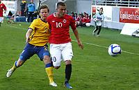 Fotball <br /> Privatlandskamp U21<br /> Briskeby Gressbane <br /> 02.06.11<br /> Norge  v  Sverige  1-4<br /> Norway  v  Sweden  1-4<br /> Foto: Dagfinn Limoseth, Digitalsport<br /> Mattias Johansson og Flamur Kastrati  , NOR
