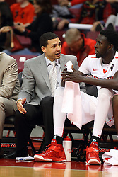 """27 November 2015: Jeremy Ballard chats with Daouda """"David"""" Ndiaye (4). Illinois State Redbirds host the Quincy Hawks at Redbird Arena in Normal Illinois (Photo by Alan Look)"""