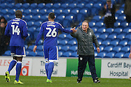 Cardiff city manager Neil Warnock ® shakes hands with Cardiff city goalscorer Kenneth Zohore (26) at the end of the game. EFL Skybet championship match, Cardiff city v Fulham at the Cardiff city stadium in Cardiff, South Wales on Saturday 25th February 2017.<br /> pic by Andrew Orchard, Andrew Orchard sports photography.