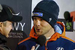 October 26, 2017 - Deeside, Wales, United Kingdom - 4 Hayden Padden (NZL) of Hyundai Motorsport speaks to the media prior to the Rally GB round of the 2017 FIA World Rally Championship. (Credit Image: © Hugh Peterswald/Pacific Press via ZUMA Wire)