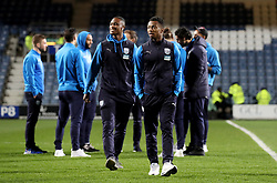 West Bromwich Albion's Rekeem Harper (left) and West Bromwich Albion's Kyle Edwards (right) check out the pitch ahead of the Sky Bet Championship match at Loftus Road, London.